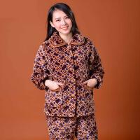 冬季女老年三层夹棉棉袄睡衣家居服套装批发招一件分销