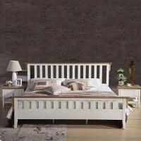 尚满 地中海系列卧室家具单/双人床 实木框架床 A9003A 水曲柳色
