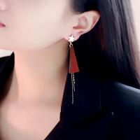 五角星流苏耳环 长款气质欧美风个性时尚耳钉 女款韩版耳坠挂饰品 红色