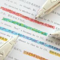 日本普乐士PLUS蜡笔水彩文字荧光修饰带创意可爱小清新装饰带日记手账DIY划重点标记彩色花边修正带学生用