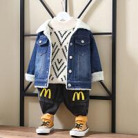 男童外套加绒宝宝洋气潮秋冬新款婴儿童春秋牛仔