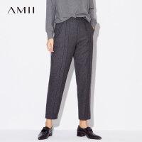 Amii[极简主义]韩版羊毛哈伦裤2018冬新帅气拼接宽松毛呢九分裤