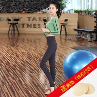 瑜伽服套装女韩国春夏季速干健身房跳操跑步裤运动衣瑜珈显瘦 k1077绿+k3080灰 送XD