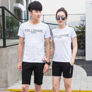 夏天2017新款情侣运动套装 跑步男女士运动服休闲套装健身卫衣服装短袖圆领T恤两件套