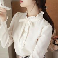 加绒立领雪纺白衬衫女长袖蝴蝶结喇叭袖秋冬加厚打底衫上衣衬衣 加绒