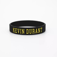 NBA勇士队珍藏版夜光手环新款KD35号篮球硅胶男女运动手环 黑色 小号