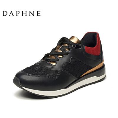 达芙妮女鞋春夏运动鞋欧美休闲运动蕾丝烫金平底单鞋1516201042