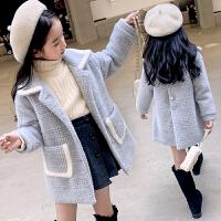 女童毛呢外套冬装夹棉加童装女大童格子儿童呢大衣