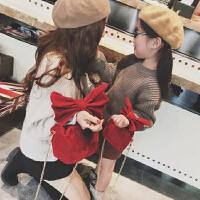 儿童圣诞新年手拎包斜跨包链条包 儿童亲子蝴蝶结包包