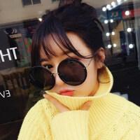 复古偏光太阳眼镜韩版女士显瘦圆形墨镜黑超 新款大圆框太阳镜户外偏光太阳镜
