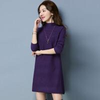 秋冬新款加厚毛衣女套头中长款显瘦羊毛衫半高领宽松打底针织衫绒