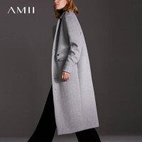 Amii[极简主义]帅气摩登翻驳领羊毛呢外套女冬纽扣装饰休闲大衣