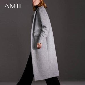 Amii[极简主义]帅气摩登 翻驳领羊毛呢外套女 冬纽扣装饰休闲大衣