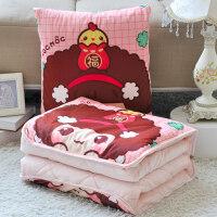 卡通抱枕被子两用汽车空调被办公室沙发午睡靠垫被靠枕头被 升级版特大号抱枕:45*45cm 展开被子:155