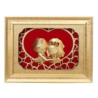 婚庆娃娃 创意结婚礼物家居摆件装饰品摆设 时尚新婚礼品欧式实用 金箔画-牵手娃娃