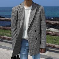MRCYC韩版男士气质休闲西服外套西装宽松风衣韩国青年格子大衣潮