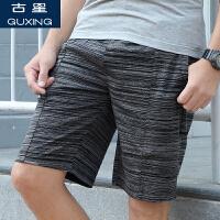 古星夏季新款男士运动短裤拉链口袋休闲五分裤条纹跑步篮球潮中裤
