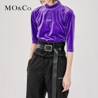 MOCO秋季新品字母刺绣丝绒露背上衣MA183TOP202 摩安珂