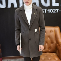 秋冬新款男士毛呢大衣韩版学生修身中长款风衣外套潮流呢大衣