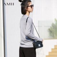 【大牌清仓 5折起】Amii别致品味深V领针织开衫女 2018春新镂空长袖外套
