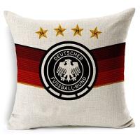 欧洲杯 被枕足球俱乐部德国队足球被枕亚麻棉麻沙发抱枕宜家汽车靠垫软装饰枕 德国 含棉芯 红色