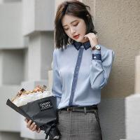 雪纺加绒衬衫女长袖保暖冬2018新款韩范修身加厚职业白衬衣工作服