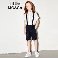 littlemoco夏季新品男童裤子背带纯色休闲西装短裤男童短裤