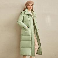 Amii�O��W美�L保暖羽�q服女2020冬季新款90白���q��松中�L款外套