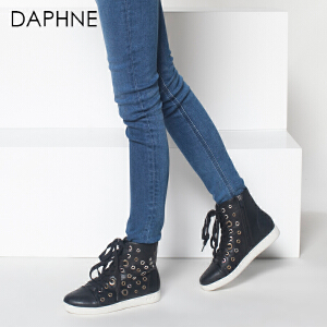 Daphne/达芙妮欧美时尚舒适优雅潮款系带平底高帮女鞋