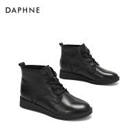 Daphne/达芙妮2017冬新款时尚牛皮女靴轻便简约舒适圆头短靴女