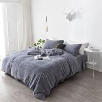 深灰色刺绣牛奶绒四件套加厚双面珊瑚绒被套床单冬季保暖床上用品