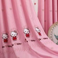 儿童窗帘成品女孩房卧室公主风遮光韩式可爱飘窗粉色卡通窗帘布料 4.5宽*2.7高1片 可改短