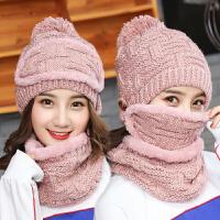 帽子女冬天时尚雪花韩版骑车保暖口罩围脖加绒加厚护耳毛线帽子女