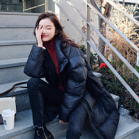 羽绒服 新品女棉衣女2018新款韩版时尚冬季外套女宽松加厚中长款女 黑色 加棉