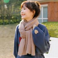 韩版简约坑条纯色针织学生毛线围巾女冬天保暖百搭围脖情侣款