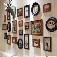 照片墙相框墙美式复古实木相片背景墙欧式钟表挂墙相框组合创意装饰客厅 茶黑21框《缇斯画芯+鹿头》 大阵列