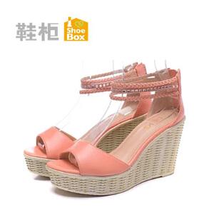 达芙妮集团 鞋柜舒适坡跟扣带时装女凉鞋