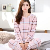 珊瑚绒睡衣女秋冬韩版加厚长袖大码休闲甜美可爱法兰绒家居服套装