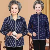 春秋季中老年女装上衣大码妈妈装印花立领夹克小外套女奶奶衣服新