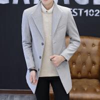 秋冬新款男士毛呢大衣中长款风衣外套青年韩版潮流呢子外衣服