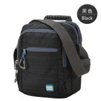 单肩包男士休闲运动背包竖款斜挎包韩版潮小包包男包旅游包 黑色CX4094