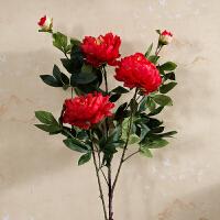 3头高品质仿真牡丹花落地假花客厅摆放花卉绢花仿真花束装饰花 红色 牡丹