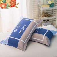 枕套纯棉一对装学生枕芯套48*74cm单人全棉枕头套 i4w