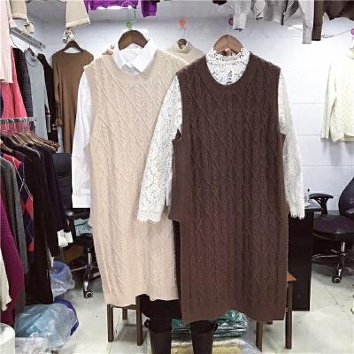 2018新款春毛线背心女针织马甲宽松中长款韩版v领无袖套头毛衣潮