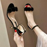 韩版户外女士单鞋凉鞋气质性感中跟鞋时尚百搭配裙子的鞋