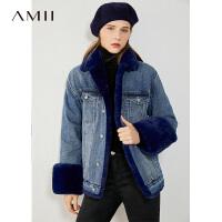 Amii韩版宽松炸街牛仔外套年冬新款大码加厚棉服女*棉衣潮