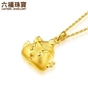 六福珠宝十二生肖鸡黄金吊坠必胜小鸡足金链坠定价L01A1TBP0022