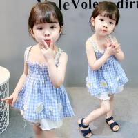 吊带连衣裙 格子花朵清凉上衣 女宝宝公主裙婴幼童
