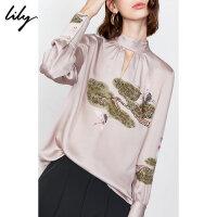 【限时一口价289元】Lily2019秋新款女装复古中国风仙鹤宽松后绑带长袖套头雪纺衫8945