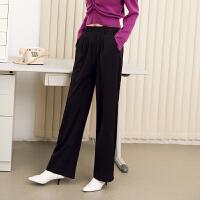 【超值一口价:199】LILY女装帅气通勤黑色高腰宽松微喇阔腿长裤